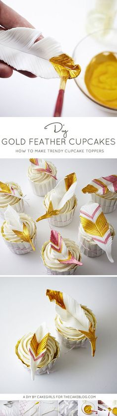 Fancy up your cupcakes with these DIY Gold Feathers   a cake tutorial by Cakegirls for TheCakeBlog.com