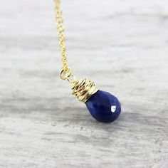 Blue Sapphire Gold Gemstone Necklace