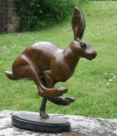 Running Hare (Bronze Running/Bounding Mad march hare Sculptures) by Martin Hayward-Harris