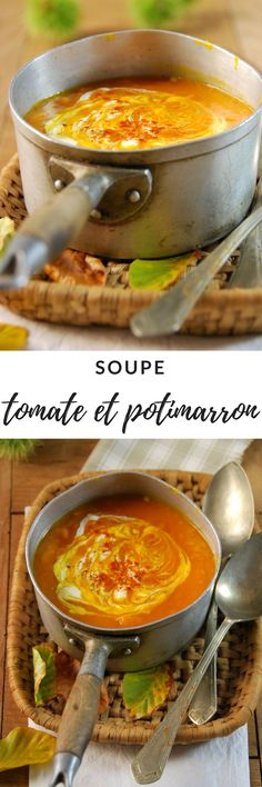 Soupe de potimarron et tomate - Recette - Tangerine Zest - The Best Indian Recipes Vegetarian Breakfast Recipes Easy, Low Calorie Vegetarian Recipes, Healthy Meals To Cook, Healthy Soup Recipes, Quick Recipes, Crockpot, Clean Eating Soup, Easy Indian Recipes, Korean Recipes