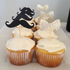Baby shower gender reveal! Black and gold. Mustache or bows. Little he or little she.