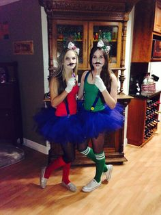 DIY Halloween Costume: Mario and Luigi for Teen Girls, tutu version>>> we are totally doing this next year @abbiehedges