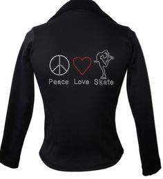 Kami-So Polartec Ice Skating Jacket - Peace Love Skate 2 | This beatiful figure skating jacket is made from Polartec Fabric #figureskating #figureskatingstore #figureskates #skating #skater #figureskater #iceskating #iceskater #icedance #ice #skates #pants #iceskates #skatingapparel #skatingjacket #kamiso #figureskatingjacket