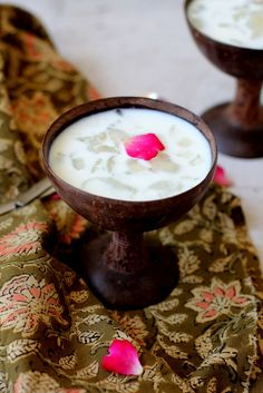 Nongu paal, sugar palm seeds dessert. South Indian summer dessert that's refreshing, cooling & perfect to beat the heat.