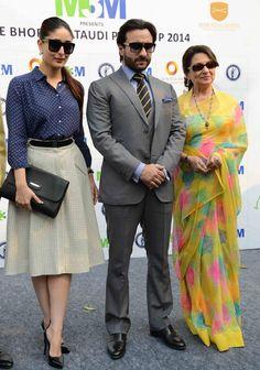 Saif Ali Khan and Kareena Kapoor looked uber-cool along with Sharmila Tagore at Bhopal Pataudi Polo Cup-2014.
