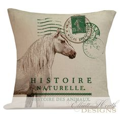 Pillow Cover French Style Equestrian Horse Lover Farmhouse Decor Burlap Cotton Throw Pillow AN-75