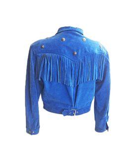 Vintage Fringed Jacket, Spring blue jacket, Fringed suede Jacket, Enrico COVERI