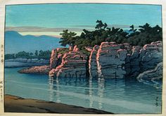 Kawase Hasui (1883-1957)  Sunset on Nagatoro in Chichibu Province