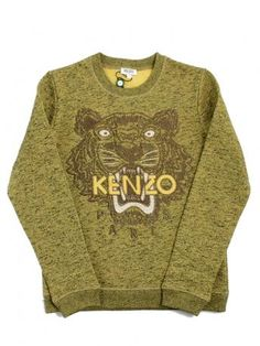 0697bc7d kenzo woman sweatshirt - cotton sweatshirt in yellow mustard melange color  with tiger and Paris Kenzo logo embroidered with metallic thread on the  front in ...