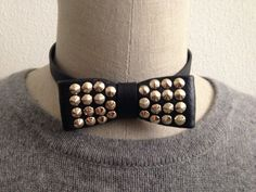 Studded  Leather Bow Tie Necklace