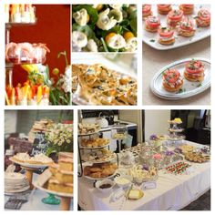 Party food ideas: Tea sandwiches, skewered caprese salad, sweet and savory phyllo cups, jam cookies, mini pies, tartlets, cookies, cupcakes, fresh fruit/vegetables....
