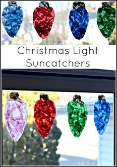 Easy Christmas craft for kids: make giant Christmas light suncatchers from And Next Comes L