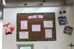 Camping classroom bulletin board- contact paper from Home Depot to make woodgrain.