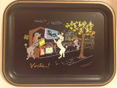 1950s Clement French Poodle Tin Trays Set of Four by TheModPasse, $35.00