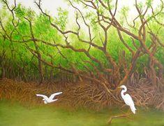 Quadro Pintura by Jorge Marcovich Garças no mangue - Egrets on the mangrove Oil painting