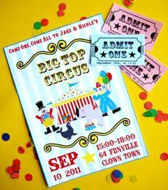 Party printables anniversaire enfant thème cirque invitations à imprimer