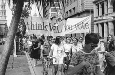 Carrying the WEL banner on International Women's Day  Adelaide, 1970s. (Search Foundation - Tribune, State Library of NSW)