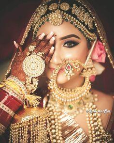 Indian Bridal Photos, South Indian Bridal Jewellery, Indian Bridal Outfits, Indian Bridal Makeup, Indian Wedding Jewelry, Indian Wedding Bride, Wedding Hair, Bridal Hair, Bengali Wedding