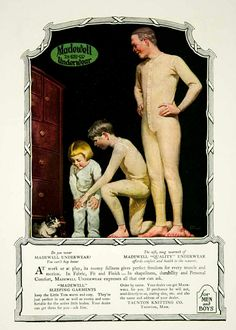 1920 Ad Taunton Knitting Co. Madewell Underwear Clothing Clothes Union Suit - Original Print Ad for Like the 1920 Ad Taunton Knitting Co. Vintage Underwear, Long Underwear, Union Suit, Man Illustration, Illustrations, New York Public Library, Print Ads, Vintage Men, Madewell