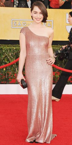Emilia Clarke's Best Red Carpet Looks - In Calvin Klein Collection, 2014 from #InStyle