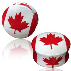 PAIR-WOODEN-PAINTED-PLUGS-RED-WHITE-CANADIAN-CANADA-FLAG-MAPLE-GAUGES-PLUGS-EAR