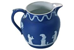 """Antique English Wedgwood pitcher with classical scenes and figures. Floral garland motif at the top. Marked """"Wedgwood, England, II, V"""" on the underside. Floral Garland, Wedgwood, One Kings Lane, Urn, English, Ceramics, Antiques, Vases, Check"""