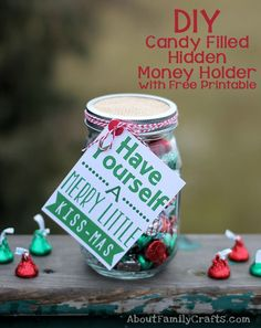 DIY Candy Filled Hidden Money Holder - If you want a fun and uique way to give cash as a gift for Christmas, learn how to make a hidden compartment in the middle of a mason jar filled with candy. (http://aboutfamilycrafts.com/diy-candy-filled-hidden-money-holder/)