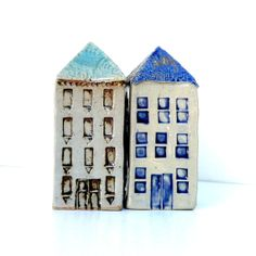 Ceramic House With A Blue Roof Ceramic by BlueMagpieDesign on Etsy, $76.00