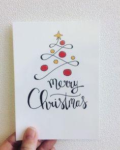 Christmas, its magic …: Christmas illustration # Noël # Noël - Christmas Deesserts Watercolor Christmas Cards, Christmas Drawing, Christmas Art, Handmade Christmas, Christmas Calligraphy Cards, Christmas Vacation, Watercolor Card, Xmas Drawing, Magic Drawing
