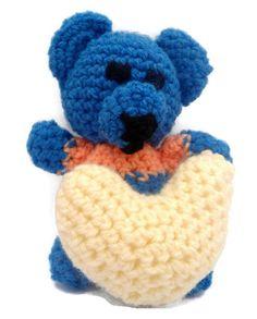 Amigurumi love bear with heart -FREE SHIPPING-  love gift, forgiveness gift, anniversary present, ideal for kids, blue bear, amigurumi heart #handmade #etsymnt