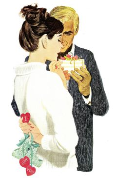 "From the size of the box, he has gotten her jewelry or perfume as a gift. Her gift doesn't come with bows, but it is definitely longer lasting. She has booties and hearts with the words ""I Love You"" behind her back. They can begin think about names. This painting was on the cover of Ladies Home Journal in February 1960."