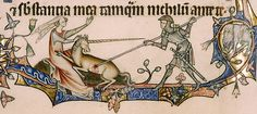 Illumination of a knight slaying a unicorn from the Ormesby Psalter, c. 1310