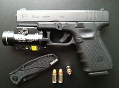 """Glock 19 GEN 4 Compact 9mm 4"""" Barrel 15+1-Rounds with Streamlight TLR-2s Weapon Mounted Laser/Light. Modified with XS Big Dot 24/7 Express Sights (Front/Rear Tritium), Lone Wolf Distributors Extended Slide Lock (Take-Down) Lever, TangoDown Vickers Tactical Extended Magazine Release, TangoDown Vickers Tactical Slide Stop, Ghost 3.5 LB. Ultimate Trigger Connector, and Pearce Frame Insert."""