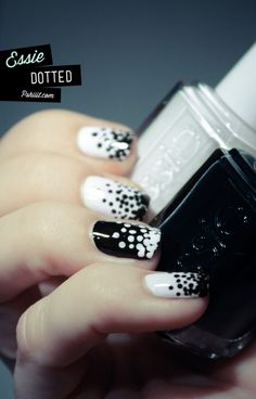 black and white dotted manicure
