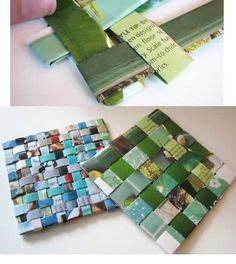 Hacer posavasos con trozos de revistas es muy sencillo y super original!