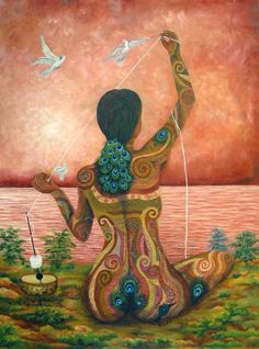 She spins the threads of life, intricately weaving the fabric of existence, connecting beyond the realm of time & space, a cosmic dance flowing with universal rhythm...Thanks Michelle Snowdon for sharing