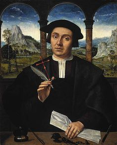 Portrait of a Man, c.1510-20, Quentin Massys; he holds a rosebud, a symbol of love and of the transcence of life; a halo and cross were later added to transform him into a saint. (National Galleries of Scotland)