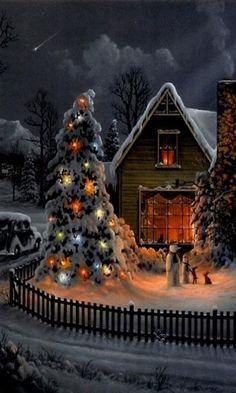 "Beautiful Christmas Scene, ""See the falling star 🌟 in the background? Christmas Scenes, Christmas Past, Country Christmas, Christmas Pictures, Christmas Greetings, Winter Christmas, Xmas, Yule, Christmas Paintings"