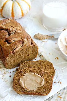 Healthy Pumpkin Bread with Cinnamon Cashew Butter | Fabtastic Eats