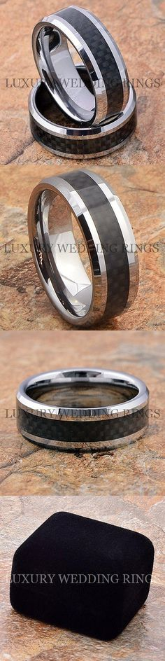 Other Wedding and Anniv Bands 92866: Tungsten Rings Mens And Womens Wedding Bands Set Fiber Inlay Jewelry Size 6-13 BUY IT NOW ONLY: $65.7