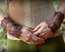Handmade Lace Arm cuffs.Beautiful dark brown lace.Soft patterns.Stretch arm cuff. Elvish forest clothing.Fairy.Pixie.LOVE.Festival.