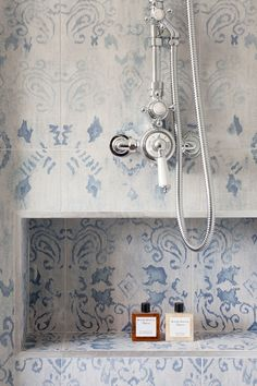 Victorian tiles, vintage fittings, and shower niche | Oakhill Court, remodeled by Ardesia Design
