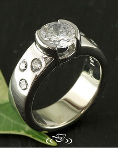 Half Bezel Ring in High Polished Palladium with Flush-Set Side Stones