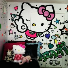 "Hello Kitty, My 8 year old daughter wanted a ""Hello Kitty"" room that was fun and full of color~ this is what Ive done so far..., Hello Kitty..."