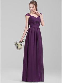 A-Line/Princess Sweetheart Floor-Length Ruffle Lace Zipper Up Cap Straps Sleeveless No Grape Spring Summer Fall General Plus Chiffon Bridesmaid Dress
