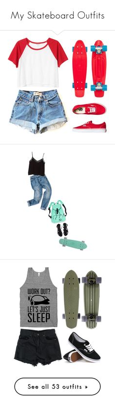 """""""My Skateboard Outfits"""" by redx1202 ❤ liked on Polyvore featuring Monki, Vans, MANGO, H&M, American Apparel, MOO, Zoe Karssen, Philipp Plein, Proenza Schouler and Dr. Martens"""