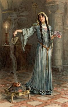 """She was known to have studied magic while she was being brought up in the nunnery."" (1914) By W. H. Margetson from: Legends of King Arthur and His Knights."