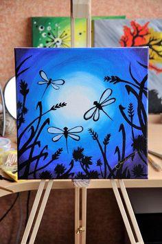 Pinturas con degradados Small Canvas Paintings, Small Canvas Art, Easy Canvas Painting, Simple Acrylic Paintings, Mini Canvas Art, Easy Paintings, Acrylic Painting Canvas, Diy Painting, Canvas Size