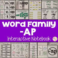 This is a Word Family Interactive Notebook to help students practice and learn CVC words and word families. There are 22 different activities for the word family -ap to help your students master the word family. You may choose which activities are best for your students. The activities include: - Sort by word family - Word Family Word Search - ABC Order - Roll, Write, Graph - Spin, Write, Graph - Real & Not Real Pockets - Building Words - Highlight then Trace - Color the Pictures - Decorate
