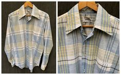 60s Plaid Button Down Shirt Long Sleeve by Coast to Coast | Etsy Vintage Shirts, Vintage Outfits, Moccasin Boots, Vintage Boots, Plaid Pattern, Blue Plaid, Shirt Shop, Long Sleeve Shirts, Coast